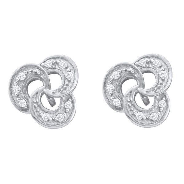 10K White Gold Round Diamond Trinity Stud Earrings 1/20 Cttw - Gold Americas