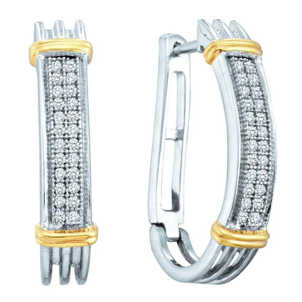 Sterling Silver Round Diamond Two-tone Oblong Double Row Hoop Earrings 1/6 Cttw - Gold Americas