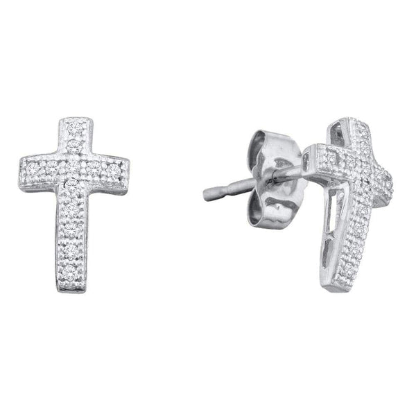 Sterling Silver Round Diamond Cross Faith Stud Earrings 1/10 Cttw - Gold Americas