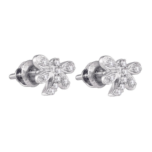 10K White Gold Round Diamond Butterfly Bug Stud Earrings 1/8 Cttw - Gold Americas