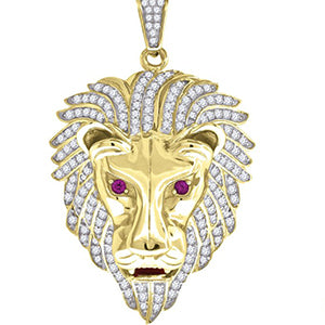 Sterling Silver Round Cubic Zirconia CZ Lion Face Charm Pendant