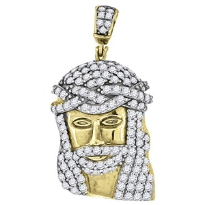 Sterling Silver Yellow-tone Cubic Zirconia CZ Jesus Unisex Pendant Charm