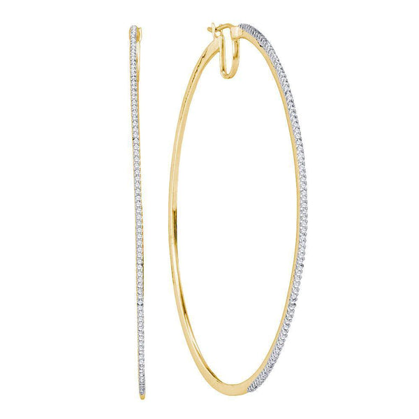 10K Yellow Gold Diamond Large Hoop Earrings 3/4 Cttw - Gold Americas