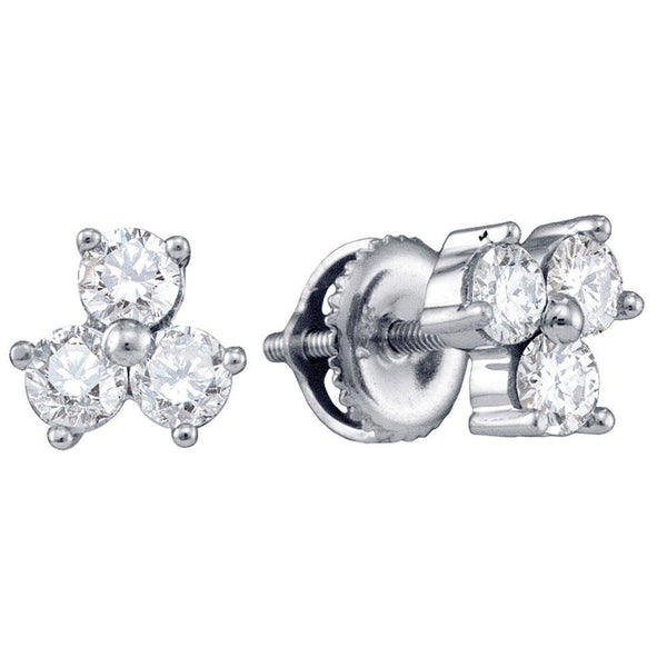 14K White Gold Round Diamond Stud Earrings 3/4 Cttw - Gold Americas