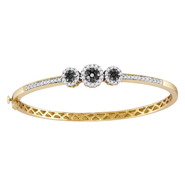14K Yellow Gold Round Black Diamond Triple Cluster Bangle Bracelet 1.00 Cttw