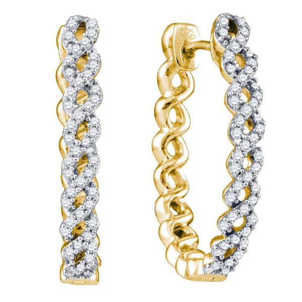 10K Yellow Gold Round Diamond Woven Hoop Earrings 1/2 Cttw - Gold Americas