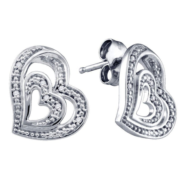 Sterling Silver Round Diamond Heart Stud Earrings 1/20 Cttw - Gold Americas