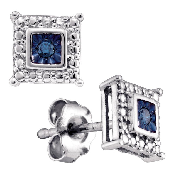 Sterling Silver Round Blue Color Enhanced Diamond Solitaire Earrings 1/20 Cttw