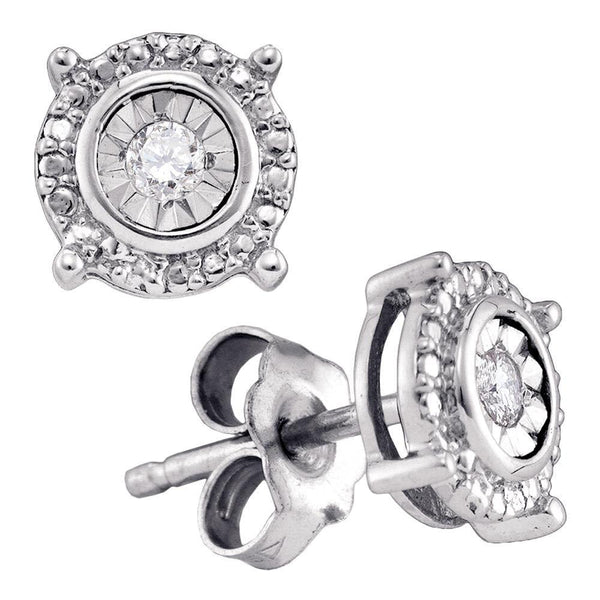 Sterling Silver Round Diamond Solitaire Circle Frame Stud Earrings 1/10 Cttw