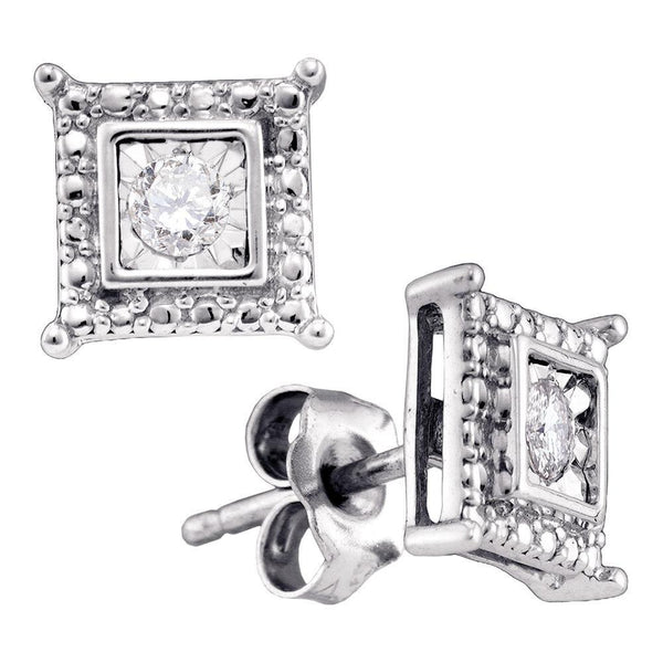Sterling Silver Round Diamond Solitaire Square Stud Earrings 1/10 Cttw