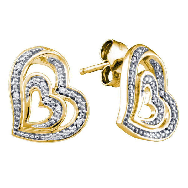 Yellow-tone Sterling Silver Round Diamond Heart Stud Earrings 1/20 Cttw