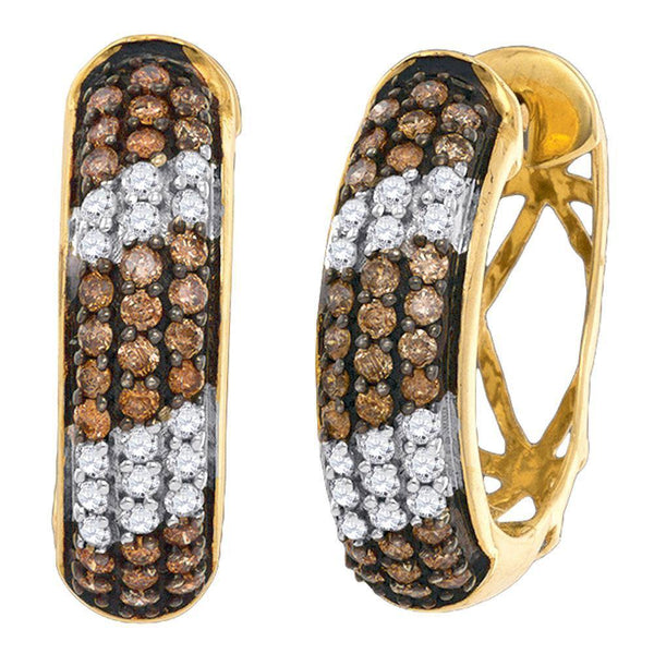 10K Yellow Gold Round Cognac-brown Color Enhanced Diamond Hoop Earrings 1.00 Cttw - Gold Americas