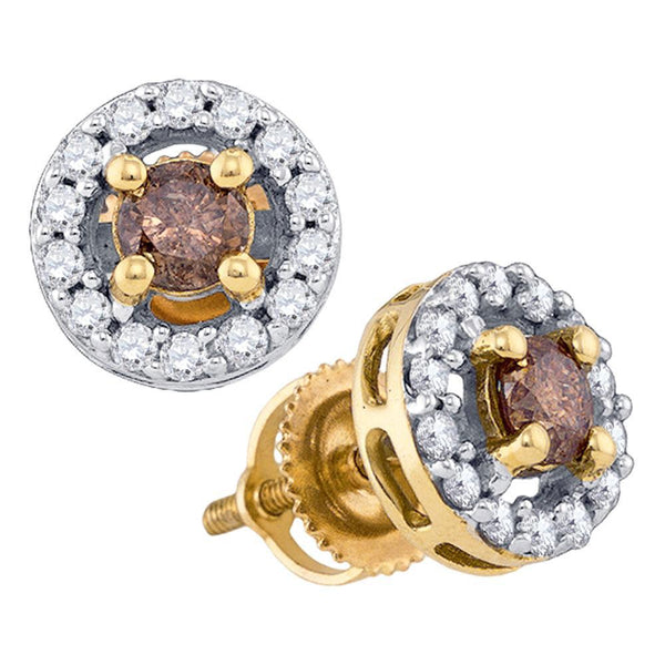 10k Yellow Gold Cognac-brown Color Enhanced Round Diamond Screwback Stud Earrings 3/4 Cttw