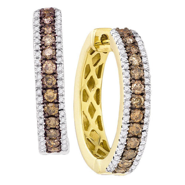 14K Yellow Gold Round Cognac-brown Color Enhanced Diamond Hoop Earrings 1.00 Cttw - Gold Americas
