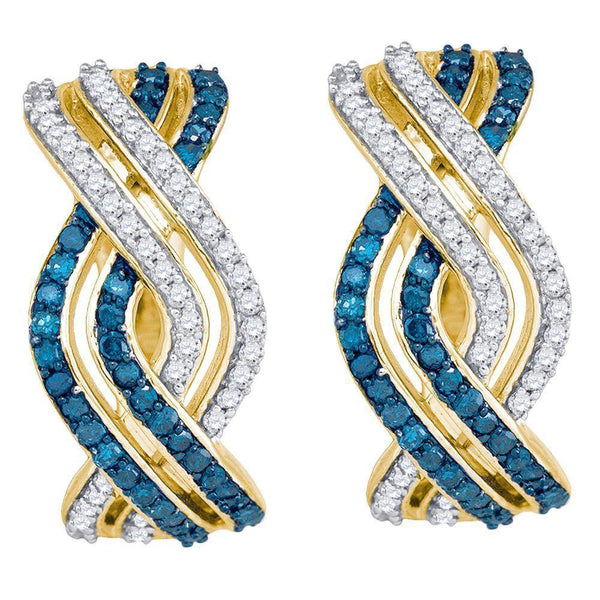 10K Yellow Gold Round Blue Color Enhanced Diamond Entwined Woven Stripe Hoop Earrings 5/8 Cttw - Gold Americas