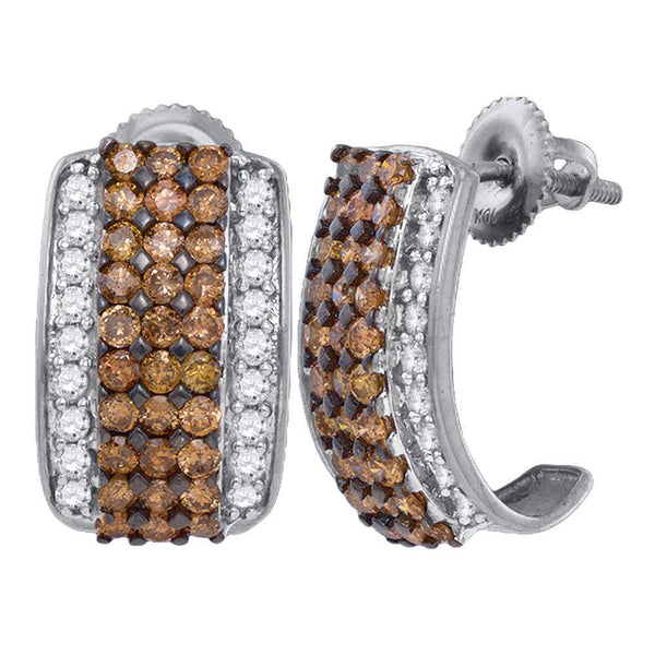 10K White Gold Round Cognac-brown Color Enhanced Diamond Stud Earrings 1-7/8 Cttw - Gold Americas
