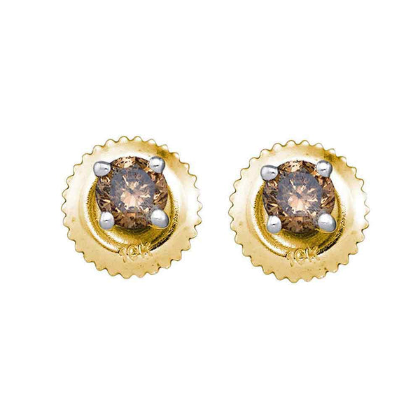 10K Yellow Gold Round Brown Color Enhanced Diamond Stud Earrings 1/2 Cttw