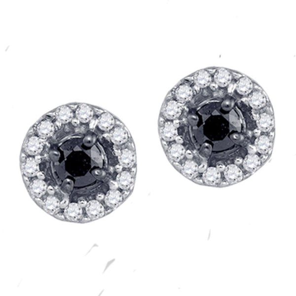 10K White Gold Round Black Color Enhanced Diamond Stud Screwback Earrings 1/5 Cttw - Gold Americas