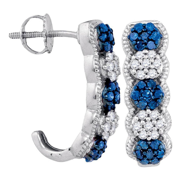 10K White Gold Round Blue Color Enhanced Diamond Cluster J Half Hoop Earrings 1/2 Cttw - Gold Americas
