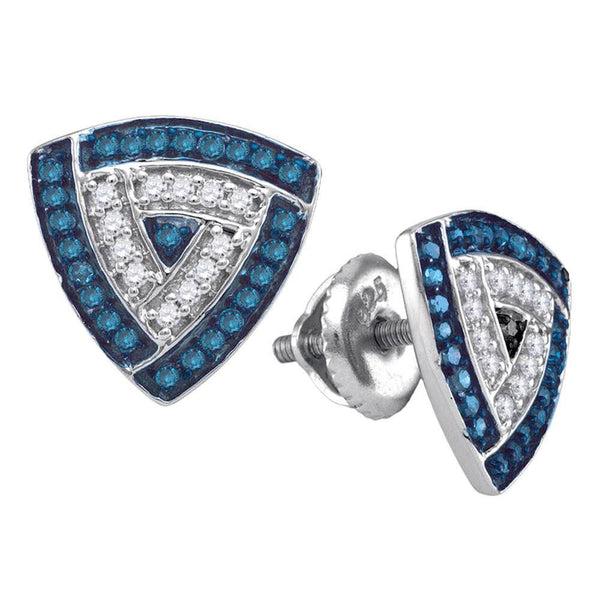 10K White Gold Round Blue Color Enhanced Diamond Triangle Frame Cluster Earrings 1/3 Cttw - Gold Americas