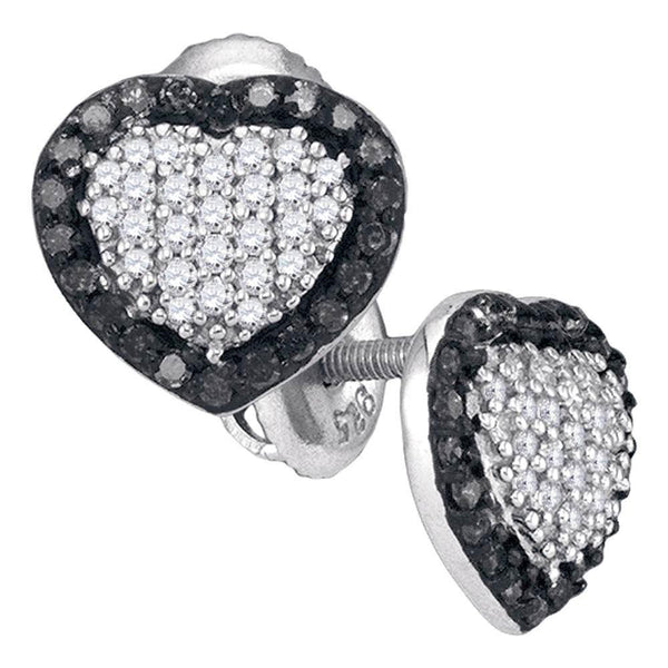 10K White Gold Round Black Color Enhanced Diamond Heart Frame Earrings 1/2 Cttw - Gold Americas