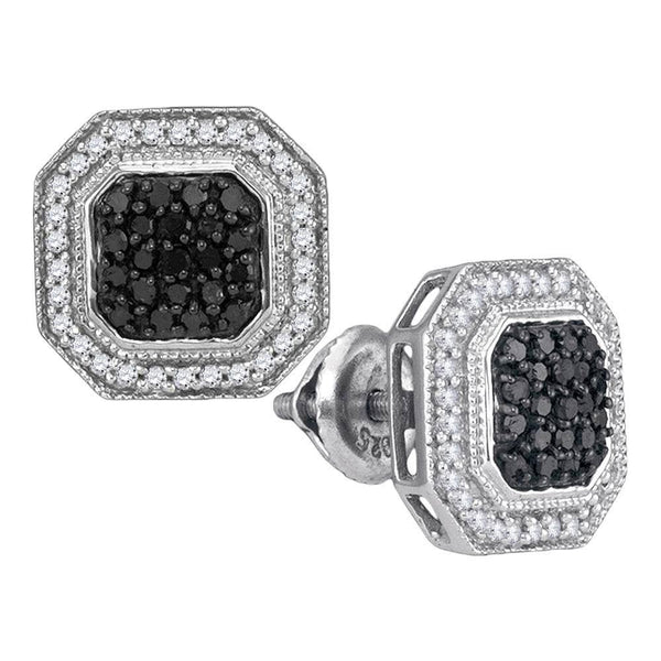 10K White Gold Round Black Color Enhanced Diamond Geometric Octagon Cluster Earrings 1/2 Cttw - Gold Americas