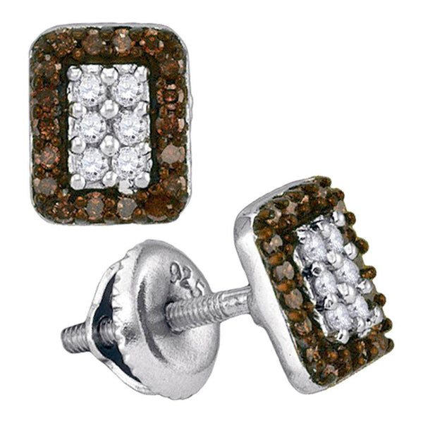 10K White Gold Round Brown Color Enhanced Diamond Rectangle Cluster Earrings 1/3 Cttw - Gold Americas