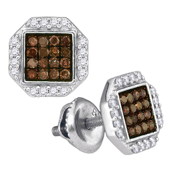 10K White Gold Round Cognac-brown Color Enhanced Diamond Octagon Cluster Earrings 3/8 Cttw - Gold Americas