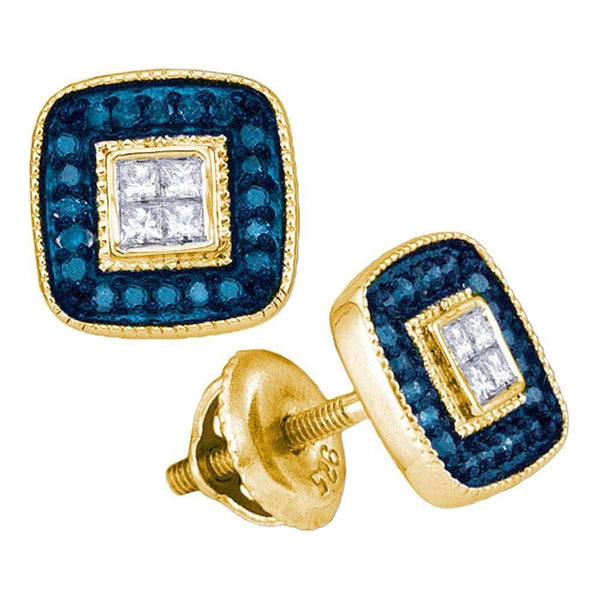 10K Yellow Gold Round Blue Color Enhanced Diamond Square Frame Cluster Earrings 1/3 Cttw - Gold Americas