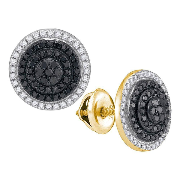 10K Yellow Gold Round Black Color Enhanced Diamond Concentric Circle Layered Cluster Earrings 1/2 Cttw - Gold Americas