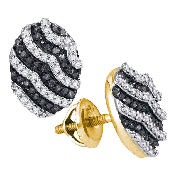 10K Yellow Gold Round Black Color Enhanced Diamond Oval Stripe Cluster Earrings 1/2 Cttw - Gold Americas