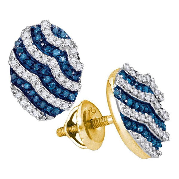 10K Yellow Gold Round Blue Color Enhanced Diamond Oval Stripe Cluster Earrings 1/2 Cttw - Gold Americas