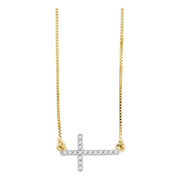 10K Yellow Gold Womens Round Diamond Cross Pendant Necklace Chain 1/10 Cttw