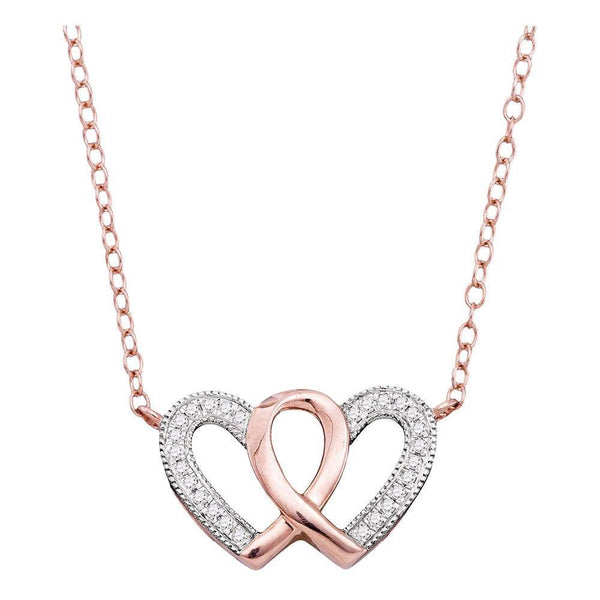10K Rose Gold Womens Round Diamond Double Heart Awareness Ribbon Pendant Necklace 1/10 Cttw - Gold Americas