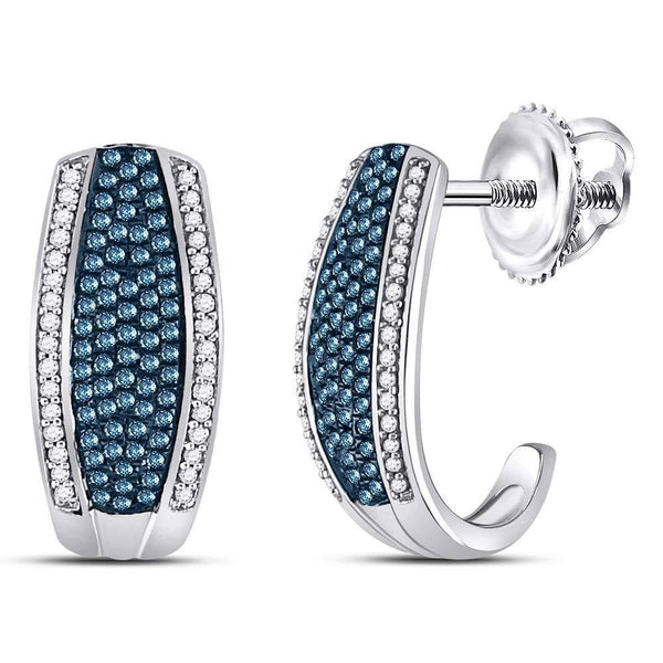 10K White Gold Round Blue Color Enhanced Diamond Half J Hoop Earrings 1/2 Cttw - Gold Americas