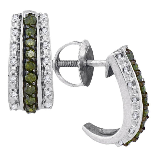 10K White Gold Round Green Color Enhanced Diamond Half J Hoop Earrings 1/3 Cttw - Gold Americas