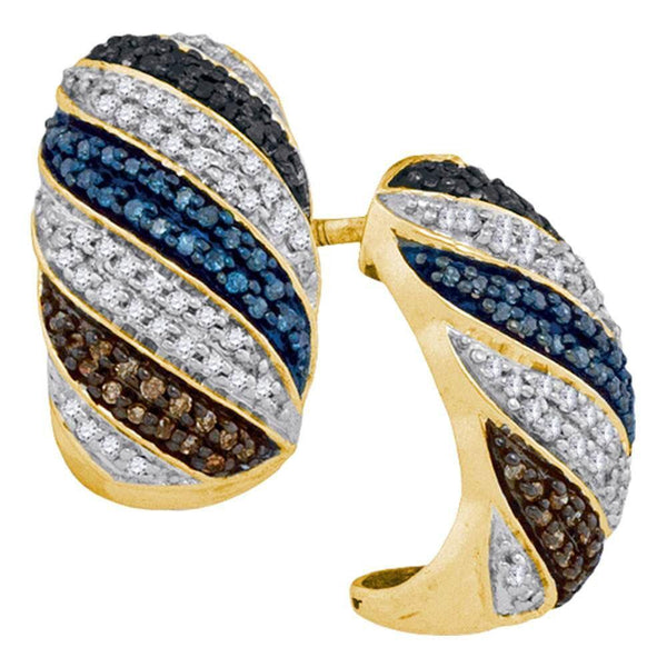 10K Yellow Gold Round Black Blue Brown Color Enhanced Diamond Half Hoop Stripe Earrings 1/2 Cttw - Gold Americas