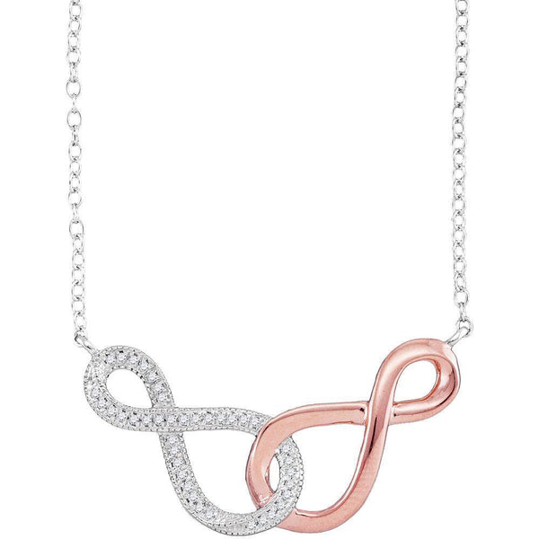 10K Two-tone Rose Gold Womens Round Diamond Infinity Pendant Necklace 1/10 Cttw - Gold Americas