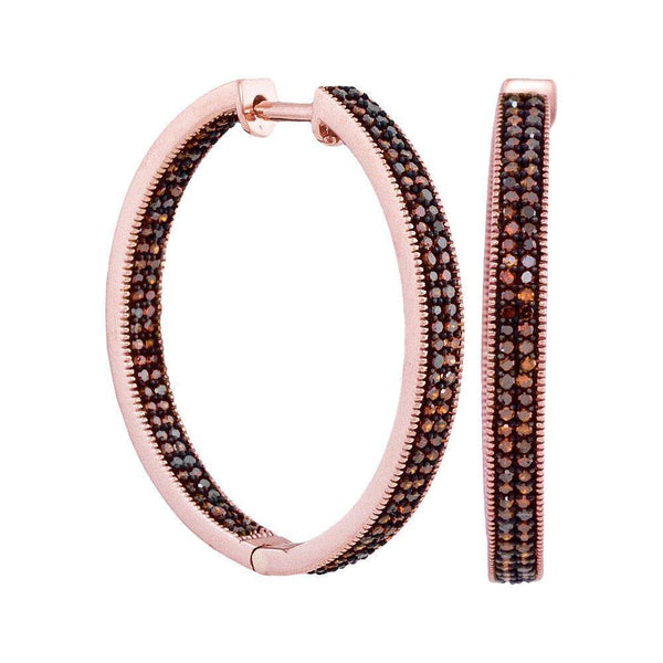 10K Rose Gold Round Red Color Enhanced Diamond Hoop Earrings 1.00 Cttw - Gold Americas