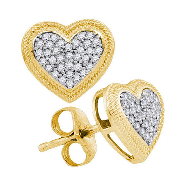 10K Yellow Gold Round Diamond Heart Cluster Earrings 1/5 Cttw - Gold Americas