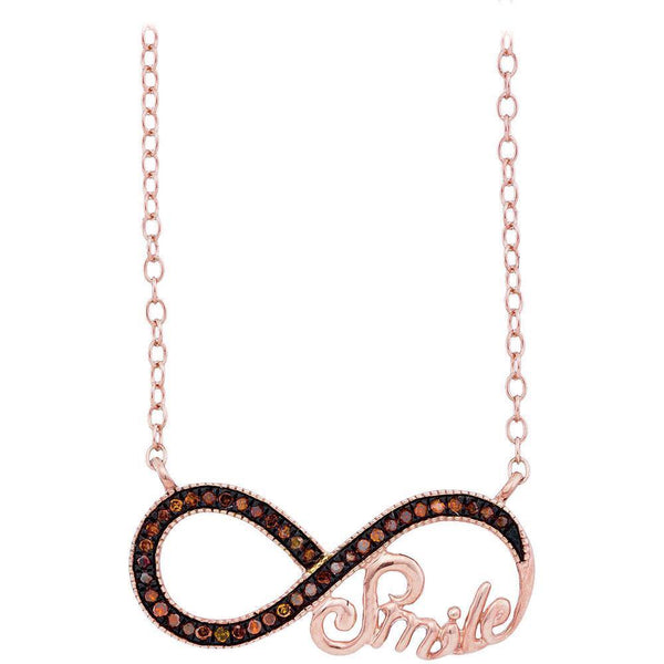10k Rose Gold Womens Red Color Enhanced Diamond Infinity Smile Love Anniversary Necklace 1/10 Cttw - Gold Americas