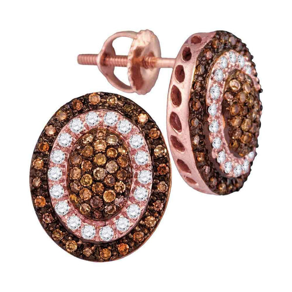 10K Rose Gold Round Brown Color Enhanced Diamond Oval Cluster Earrings 1/2 Cttw - Gold Americas