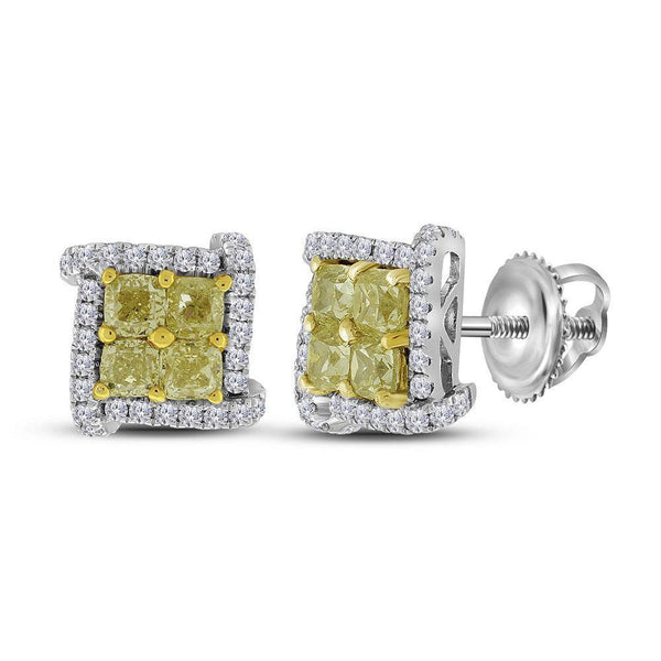 18K White Gold Round Yellow Color Enhanced Diamond Square Cluster Earrings 1-1/2 Cttw - Gold Americas