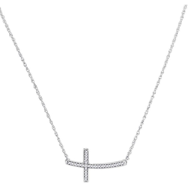 10K White Gold Womens Round Diamond Horizontal Cross Pendant Necklace 1/10 Cttw