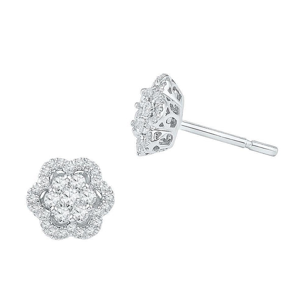 10K White Gold Round Diamond Flower Cluster Stud Earrings 1/2 Cttw - Gold Americas