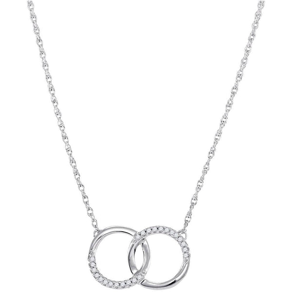 10K White Gold Womens Round Diamond Interlocking Double Circle Pendant Necklace 1/10 Cttw