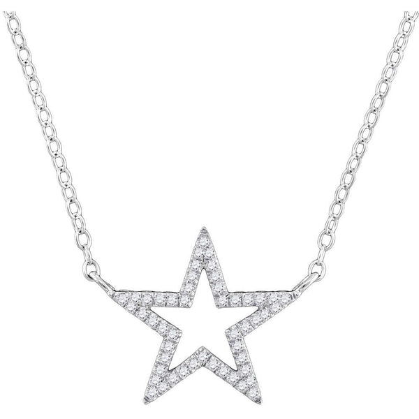 "10K White Gold Womens Round Diamond Star Outline Pendant Necklace with 18"" Chain 1/8 Cttw"