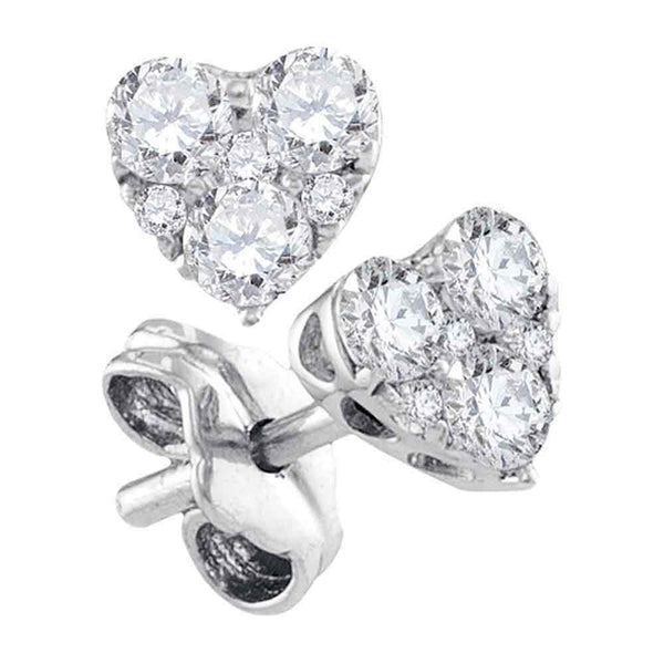 10K White Gold Round Diamond Heart Cluster Stud Earrings 1/2 Cttw - Gold Americas