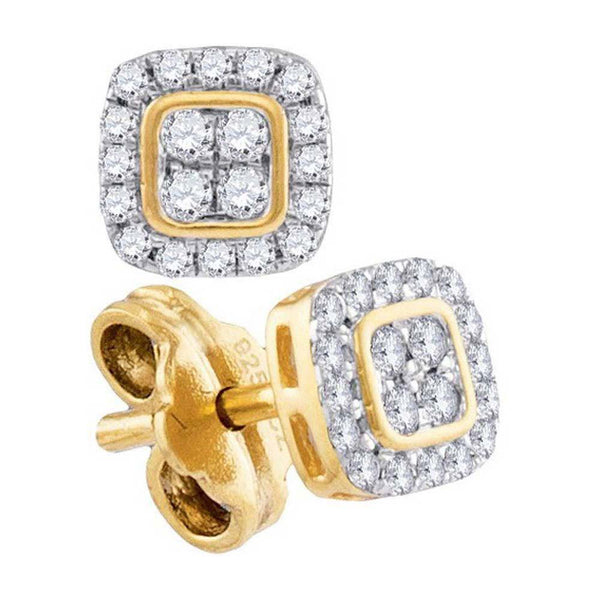 10K Yellow Gold Round Diamond Square Cluster Stud Earrings 1/5 Cttw - Gold Americas