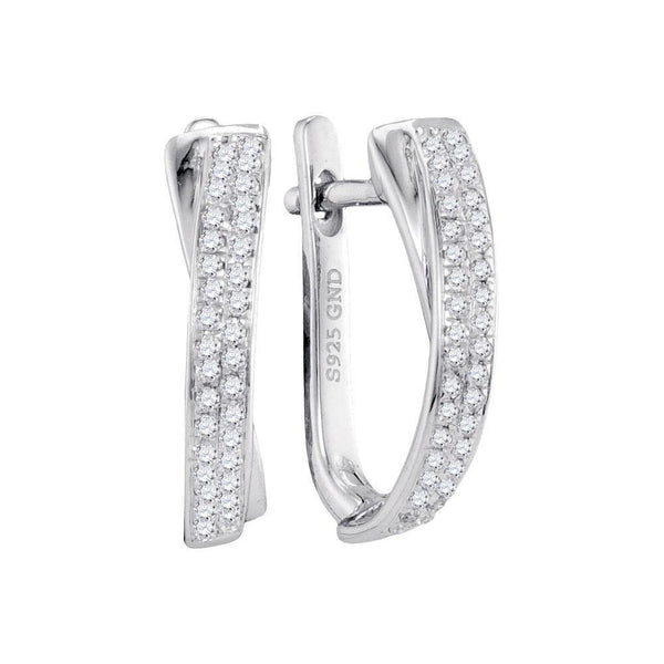 10K White Gold Round Pave-set Diamond Hoop Earrings 1/6 Cttw - Gold Americas